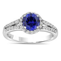 BLUE SAPPHIRE AND DIAMOND ENGAGEMENT RING 14K WHITE GOLD 1.34 CARAT BRID... - $1,912.50