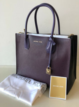 MICHAEL KORS MERCER LG CONVERTIBLE TOTE DAMSON IRIS BLACK SHOULDER ZIP H... - $168.26