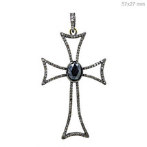Pave Diamond Silver Women Christian Unique Cross Religious Gemstone Pendant - $350.63
