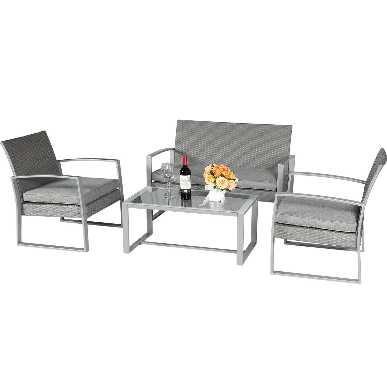 4 PC Rattan Furniture Set Conversation Sectional Wicker Lawn Deck Cushioned Seat