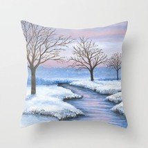 Throw Pillow Case Cushion cover Made in USA Landscape 231 winter snow L.Dumas - $29.99+