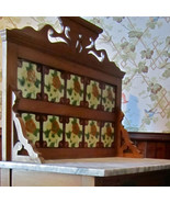 Gorgeous 3-D Majolica Tiled Back Marble Top Antique Maple Washstand Must... - $685.61