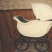 1910-20 SUPER Signed Heywood Wakefield Wicker Carriage Upholstered Comfy - $1,495.00