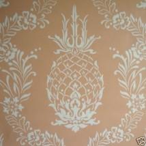 9sr Creamy Coral Pineapple Stencil Waterhouse Wallpaper - $285.12