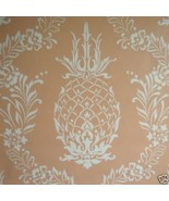 9sr Creamy Coral Pineapple Stencil Waterhouse Wallpaper - $285.12