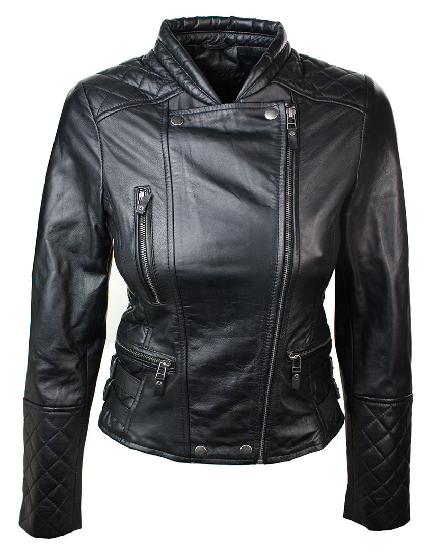 New Women Genuine Leather Slim Fit,Quilted Biker Fasion