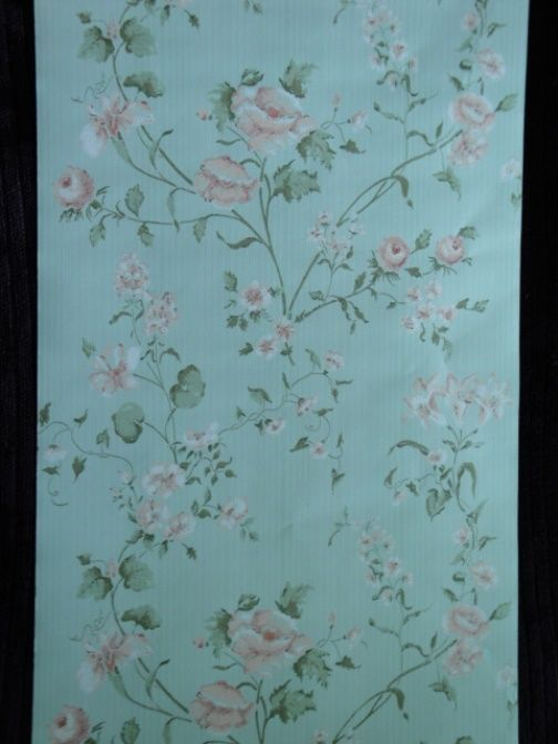 14sr green w roses strahan discount designer wallpaper for Affordable designer wallpaper