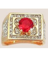 Men's Elegant Bling Ring with Red & Clear CZs Size13 GEP - $24.99