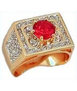 Men's Ring with Red & Clear CZs Size 12 New Lots of Glitter - $24.99