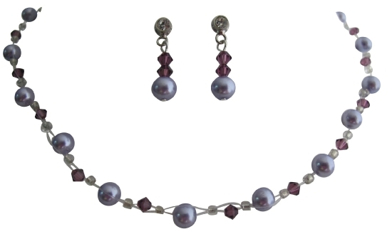 Gorgeous Bridal Jewelry Lavender Pearls with Amethyst Crystals
