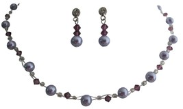 Gorgeous Bridal Jewelry Lavender Pearls with Amethyst Crystals - $21.83