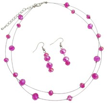 Double Stranded Illusion Hot Pink Crystal Necklace Set - $18.58