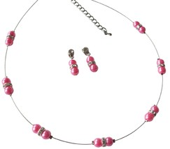 Floating Hot Pink Illusion Necklace with Earrings Pretty Jewelry - $15.98