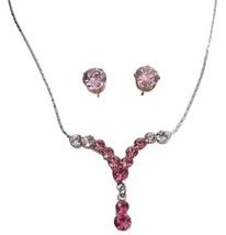 Y Shaped Bridal Pageant Dazzling Pink Crystal Necklace Earring Set - $12.73