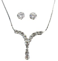 Silver Plated Sparkling Crystal Clear Necklace with Stud Earrings - $12.73