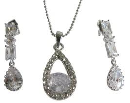 Silver Plated Rhinestone Teardrop Earrings & Necklace Set - $15.98