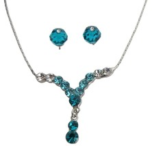 Prom Or Graduation Party Dazzling Blue Zircon Crystal Necklace Set - $12.73