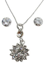 Mother's Gift Sunflower Crystal Necklace Pendant w/ Stud Earrings - $14.03