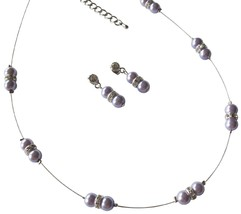 Lilac Pearls Floating Illusion Necklace Rhinestones with Earrings - $15.98