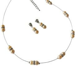 Delicate Simple Peach Pearls & Glistening Rhinestones Jewelry Set - $15.98