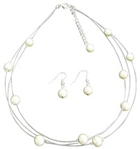 Timeless Elegant Three Stranded Ivory Pearl Necklace Earrings - $15.98
