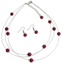 Red Floating Pearls Necklace and Earrings Set Three Stranded Necklace - $15.98