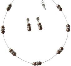 Lustrous Brown Pearl Adorned In Illusion Lovely Necklace Earrings - $15.98