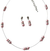 Dainty Pink Pearl Floating In Illusion Cute Necklace Earrings Set - $15.98