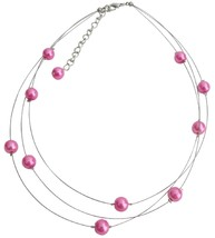 Three Stranded Hot Pink Pearls Floating Necklace Earrings Set - $15.98