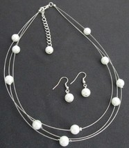 Bridal Jewelry White Pearls Floating Gorgeous Necklace Earrings - $15.98