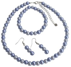 Handmade Lilac Pearls Necklace Earrings Stretchable Bracelet Set - $14.03