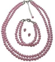 Two Stranded Pearl Bracelet Stud Earrings Jewelry In Pink Color - $26.38