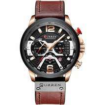 Curren Men's Leather Chronograph Wrist Watch 8329 (Brown & Rose Gold) - $42.00