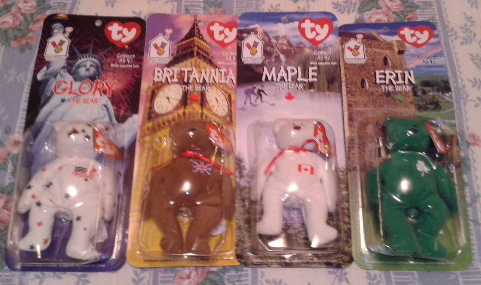 McDonalds International Ty Teenie Beanie Babies ~ ERIN, GLORY, MAPLE, BRITANNIA