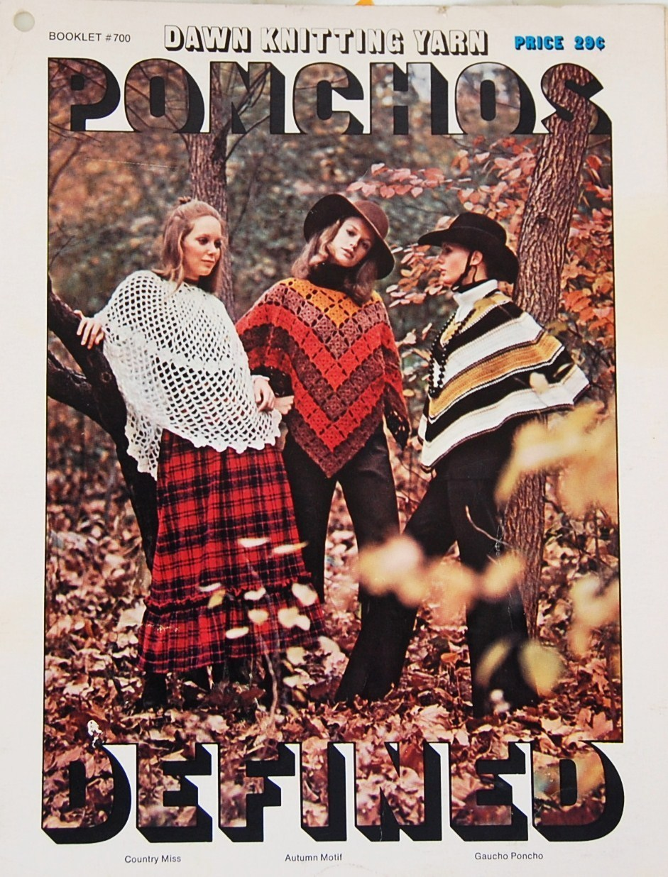 American Thread Ponchos Vintage Crochet & Knit Pattern Leaflet No. 700 1971