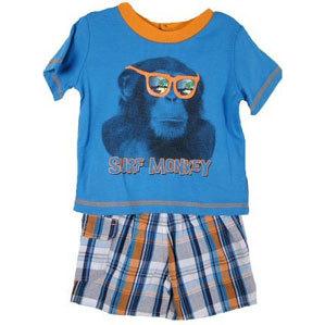 "Toddler Boys ""Surf Monkey"" Short Set"