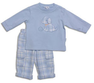"Le Top Boys ""Wags & Whiskers"" Plaid Pants Set"