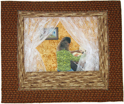 Outside Looking In: Artist at Work -- Quilted Art Wall Hanging - $375.00