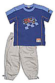 "Toddler Le Top Boys ""Racer!"" Knit Shirt & Woven Pant Set"