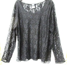 Sz XL - Sharon Young Black Floral Lace Sheer Long Sleeve Shirt - $33.24