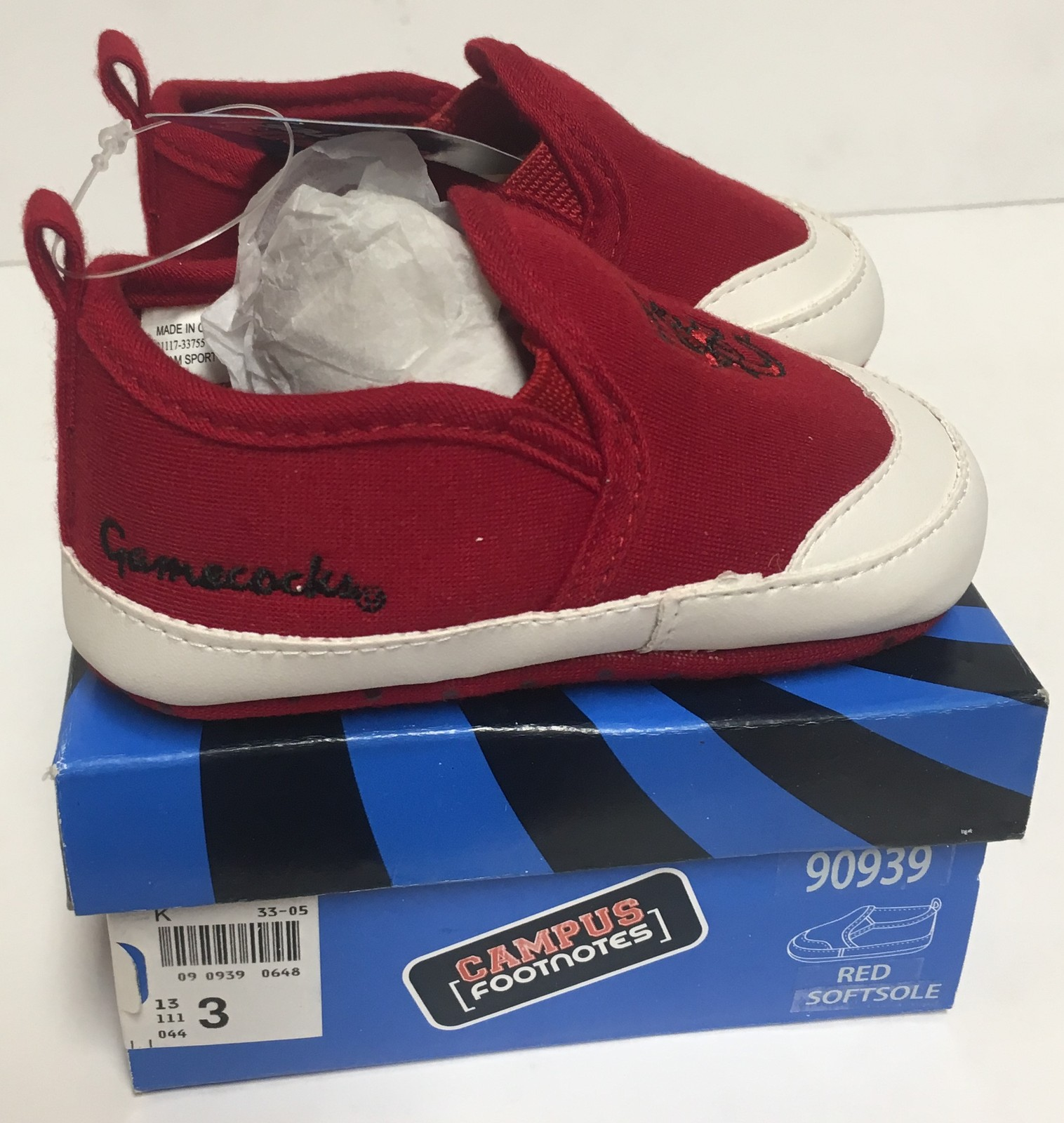 USC University of South Carolina Gamecocks Infant Sz 3 Non-Slip Soft Shoes  image 5