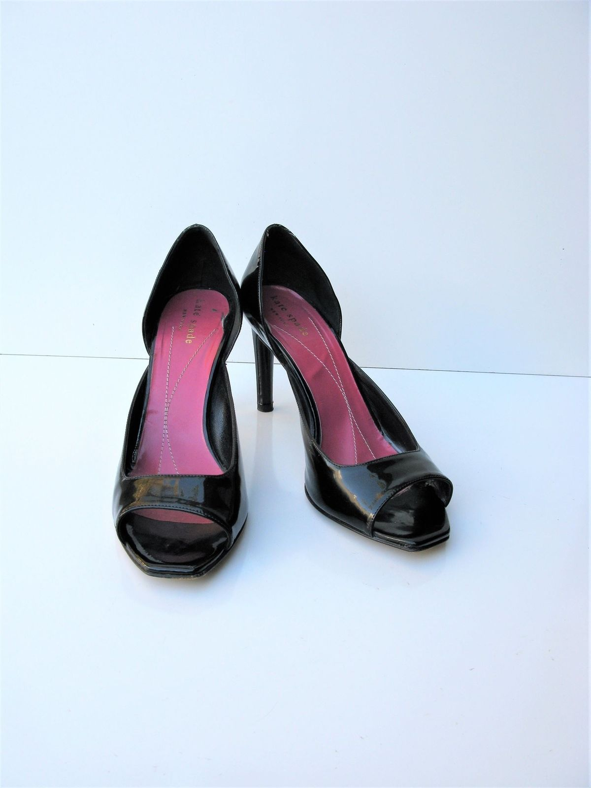 Pumps Heels d'Orsay Open Toe Patent Leather Kate Spade 7.5 $298 Mint Worn Once