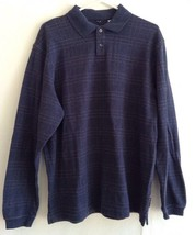 Geoffrey Beene Men's Polo Shirt Large LS Knitted Charcoal Grey Checkered - $24.74