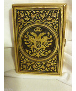 Vintage Ornate Metallic Gold Tone Card Case with Two Headed Eagle Symbol - $84.98