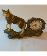 Stone-trim Mantel Clock with Figurine of Wolf Standing Guard on Rocks - $29.98