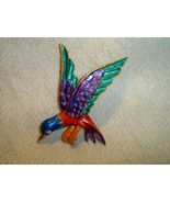 SALE! Vintage Art Hummingbird Brooch Hand Painted Rhinestone  - $12.99