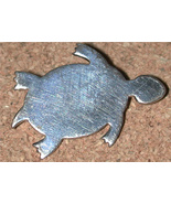brooch handcrafted Sterling silver TURTLE tortoise Pin Vintage signed WRE - $15.00