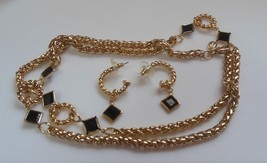 Princess House Chain Link and Black Stone Necklace w/Matching Earrings  - $49.50