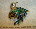 Vintage hummingbird enameled brooch black1 thumb155 crop