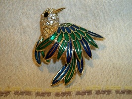 Vintage hummingbird enameled brooch black1 thumb200